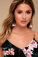 Favorite Feature Gold and Pink Beaded Tassel Earrings 3