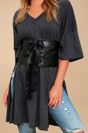 La Mignonne Black Lace-Up Waist Belt 1
