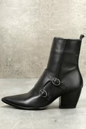 Matisse Flipside Black Leather Pointed Toe Mid-Calf Boots 1