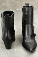 Matisse Flipside Black Leather Pointed Toe Mid-Calf Boots 4