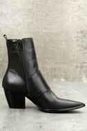 Matisse Flipside Black Leather Pointed Toe Mid-Calf Boots 3