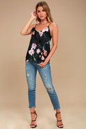 Fleurs Things First Black Floral Print Tank Top 1