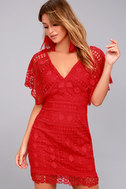 First Kiss Red Lace Dress 2