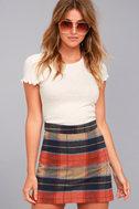 Mad for Plaid Beige Plaid Mini Skirt 2