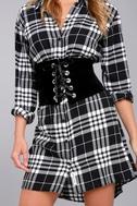 Deepest Desire Black Velvet Lace-Up Waist Belt 1