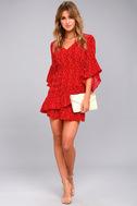 Whole Heart Red Polka Dot Wrap Dress 2