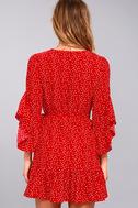 Whole Heart Red Polka Dot Wrap Dress 3