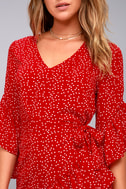 Whole Heart Red Polka Dot Wrap Dress 4