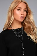 Life Force Silver and Gunmetal Layered Necklace 1