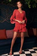 Whole Heart Red Polka Dot Wrap Dress 5