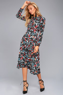 I. Madeline Garden Splendor Black Floral Print Dress 2