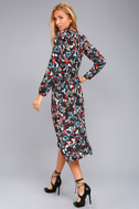 I. Madeline Garden Splendor Black Floral Print Dress 3