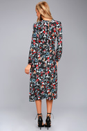 I. Madeline Garden Splendor Black Floral Print Dress 4
