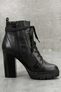 Steve Madden Laurie Black Leather Lace-Up Platform Booties 2