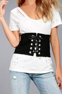 Lizabeth Black Lace-Up Waist Belt 1
