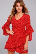 Whole Heart Red Polka Dot Wrap Dress 6