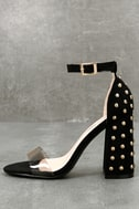 Zaya Black and Clear Studded Ankle Strap Heels 2