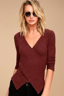 So Delightful Burgundy Long Sleeve Wrap Top 1