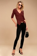 So Delightful Burgundy Long Sleeve Wrap Top 2