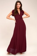 Heart of Marigold Burgundy Wrap Maxi Dress 1