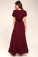 Heart of Marigold Burgundy Wrap Maxi Dress 3
