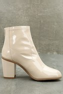 BC Footwear Ringmaster Nude Patent Ankle Booties 3