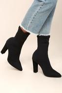 Viola Black Knit Mid-Calf Sock Boots 1