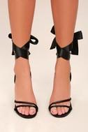 Zali Black Satin Lace-Up Heels 1