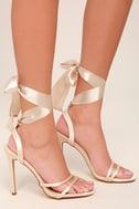 Zali Nude Satin Lace-Up Heels 3