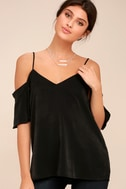 Chic Awakening Black Satin Cold Shoulder Top 3