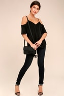 Chic Awakening Black Satin Cold Shoulder Top 2