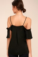 Chic Awakening Black Satin Cold Shoulder Top 4