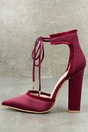 Amalia Wine Satin Lace-Up Heels 2