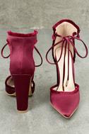 Amalia Wine Satin Lace-Up Heels 4