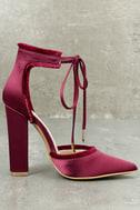 Amalia Wine Satin Lace-Up Heels 3