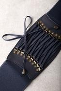 Hold Me Forever Navy Blue Lace-Up Waist Belt 2