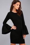 Double Flair Black Long Sleeve Bodycon Dress 3