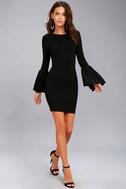 Double Flair Black Long Sleeve Bodycon Dress 2