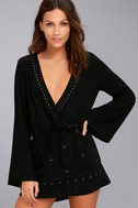 San Marcos Black Studded Long Sleeve Dress 1