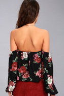 In Your Arms Black Floral Print Off-the-Shoulder Top 9