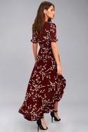 Wild Winds Burgundy Floral Print High-Low Wrap Dress 3