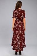 Wild Winds Burgundy Floral Print High-Low Wrap Dress 4
