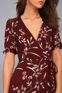 Wild Winds Burgundy Floral Print High-Low Wrap Dress 5