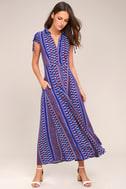 I'm Worth It Royal Blue Print Midi Dress 1