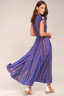 I'm Worth It Royal Blue Print Midi Dress 3