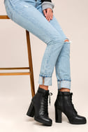 Steve Madden Laurie Black Leather Lace-Up Platform Booties 5