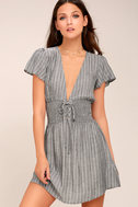Ahoy Grey Striped Lace-Up Dress 2