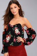 In Your Arms Black Floral Print Off-the-Shoulder Top 6