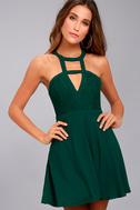 All My Daydreams Forest Green Lace Skater Dress 3