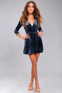 Shine of Your Life Navy Blue Crushed Velvet Wrap Dress 1